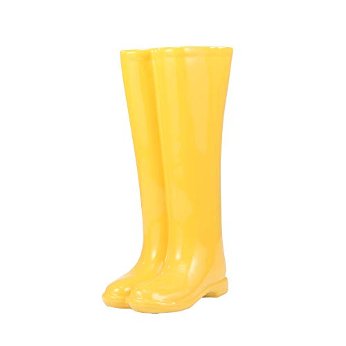 Sagebrook Home 10594-01 Ceramic Boots Umbrella Stand, Yellow Ceramic, 12 x 7 x 19 ()
