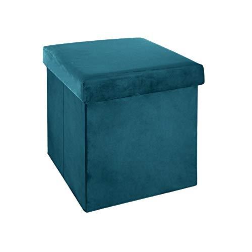 38 x 38 Cm PEGANE Pouf Pliant Bleu Canard en Velours en Polyester