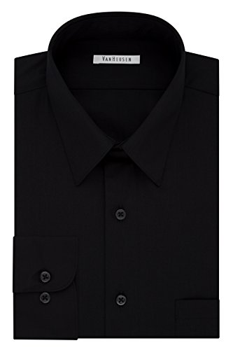 (Van Heusen Men's Size FIT Dress Shirts Poplin (Big and Tall), Black, 16.5