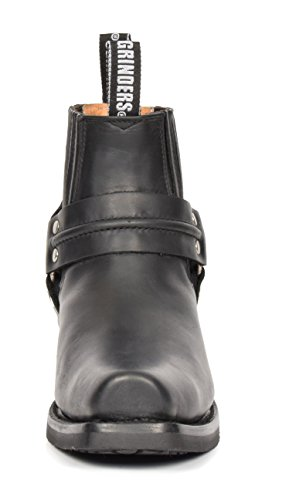 House Of Leather Real Leather Chelsea Boots Cowboy Biker Style Slip on Square Toe Shoes 04RE-Lo Black GwEwBkgR