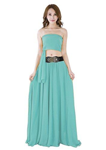 Women Summer Chiffon High Waist Pleated Big Hem Full/Ankle Length Beach Maxi Skirt(Medium/Light Green)
