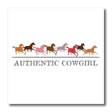 InspirationzStore-Typography-Authentic-Cowgirl-Western-wild-and-free-running-horses-in-brown-with-gray-cow-girl-grey-text-Iron-on-Heat-Transfers