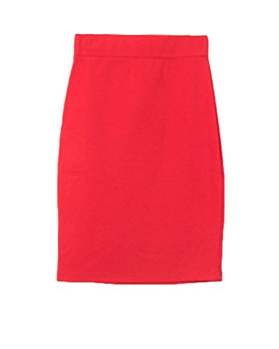 Elastique Taille Confortable Style Moulant Rouge Bodycon Casual OL Uni Crayon Haute Midi Jupe Runyue Jupe en Femme WCYwqfYZg