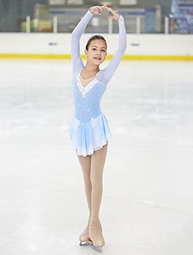 4fece75ba689 21Grams Figure Skating Dress Girls' Ice Skating Dress Blue/White Spandex  High Elasticity Competition Skating Wear Handmade Classic Rhinestone Long  Sleeve