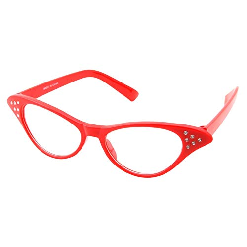 (Girl's RED Hip Hop 50s Shop Child Cat Eye Glasses Poodle Skirt Halloween Costume Accessory)