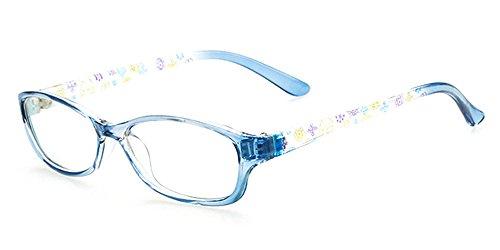 Price comparison product image BOZEVON Unisex Boys Girls Kids Reading Sighted Distance myopia Glasses Frame, Blue(Transparent)