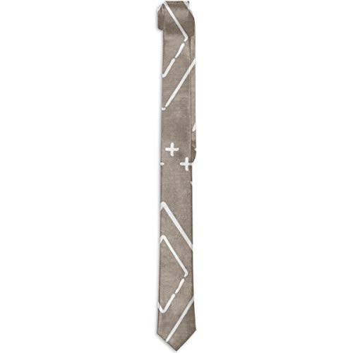 Safari Wholecloth Diamonds On Brown Farmhouse Diamonds Mud Cloth Fabric Mens Abstract Modern Art Fashion Skinny Necktie Ties Novelty Silk ()