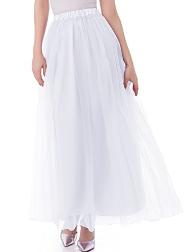 Emondora Tutu Tulle A-Line Floor Length Skirt Women Prom Evening Gown Dress Up White Size M
