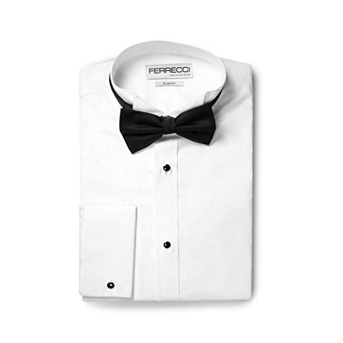 Ferrecci Men's Rome White Slim Fit Pique Wing Tip Collar Bib Tuxedo Shirt with Bowtie (M15.5 34) (Wing Collar Tuxedo Shirt Pique Bib Front)