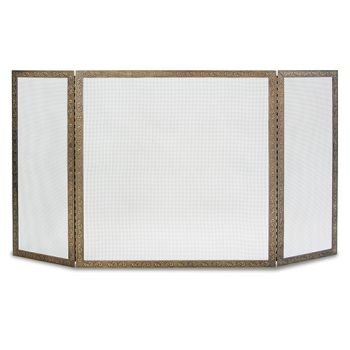 Pilgrim Home & Hearth 18239 Bay Branch Embossed Tri Panel Fireplace Screen, Antique Brass