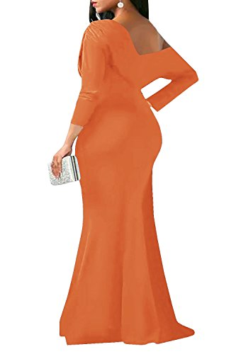 Women Maxi One V Shoulder Back Sexy 3 Bodycon Neck 4 Off Orange Party Sleeve Dress Chellysun HBqdx7CwH