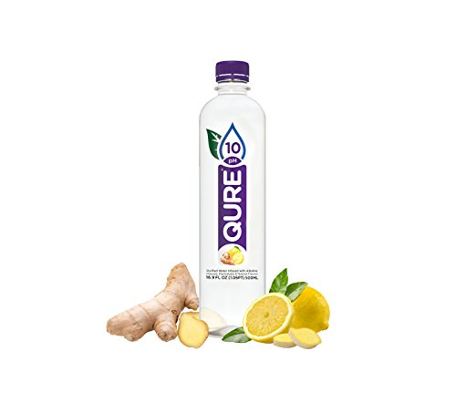 Qure Alkaline Water  Lemon Ginger  24 Count