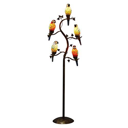 Makenier Vintage Tiffany Style Stained Glass 5-Light Parrot Tree Branch Bedroom Living Room Study Floor Lamp (Lamp Floor Birds)