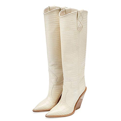 T-JULY Microfiber Leather Women Knee High Boots Sexy Pointed Toe Western Cowboy Boots Women Mid-Calf Chunky Wedge Boots Beige ()