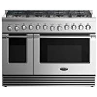 DCS RGV2488N 48 Natural Gas Range with 5.3 Cu. Ft. Primary Oven Capacity 8 Sealed Dual Flow Burners Convection Bake Function and Flat Vent Trim: Stainless