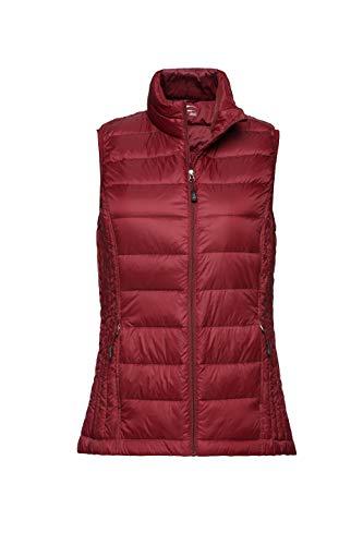 XPOSURZONE Women Packable Lightweight Down Vest Outdoor Puffer Vest Ruby Wine L