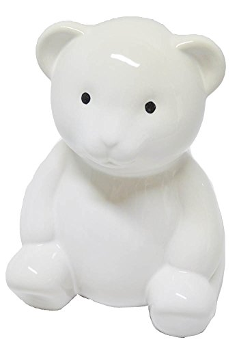 Bear Piggy Bank - Child to Cherish Ceramic Teddy Bear Piggy Bank, White
