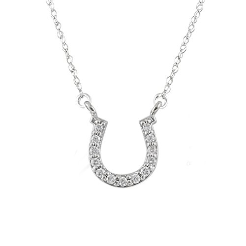JewelExclusive 10K White Gold 1/10cttw Natural Round-Cut Diamond (I-J Color, I2-I3 Clarity) Horseshoe Pendant-Necklace, 18