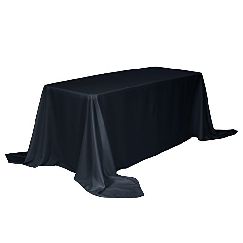 VEEYOO Tablecloth 90 x 156 inch Rectangular Solid Polyester Table Cloth for Wedding Restaurant Party Buffet Table, Navy