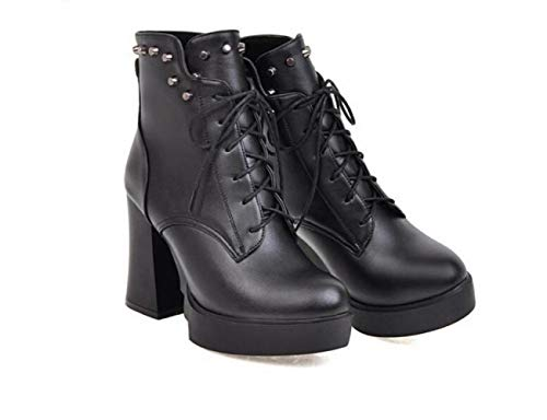 Otoño Tacón Negro Moda Wsr Martin botas E Cordones Invierno De Británico Para Estilo Alto Mujer Botas 34 43 Plataforma botas vZIfZqRH