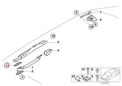 BMW Genuine Upper Roof Handle Handle Cut-Out Cover Black 323Ci 325Ci 328Ci 330Ci M3