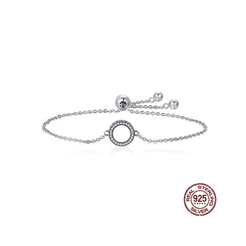 QIUHUAXIANG 925 Sterling Silver Glittering Round Circle Chain Link Strand Bracelets for Women Jewelry