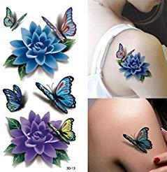 Temporary Tattoos - Rose Tattoo Tafly Fake Tattoos Waterproof Bikini Glue Temporary - Colorful 3d Butterfly Flower Rose Tattoo Sticker Waterproof Temporary Decal Diy Body Art - - -