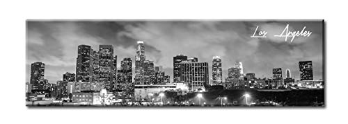 Halloween City Los Angeles (DJSYLIFE Canvas Wall Art - Black and White Skyline Wall Panoramic Los Angeles Cityscape Picture - Framed and Ready to Hang 13.8