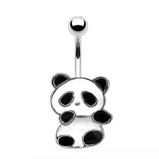 Black White Enamel Rhodium Ring - Amelia Fashion 14GA Enamel Colored Panda Bear Dangle Belly Button/Navel Ring 316L Surgical Steel (Black/White)