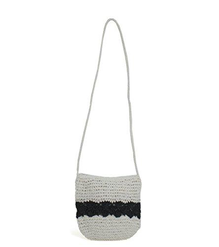 Magid Color Block Crochet Crossbody (White/Black)