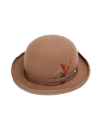 New Mens 100% Wool Tan (Beige / Camel) Derby Bowler Hat