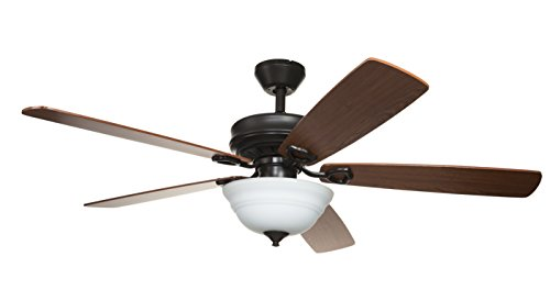 Hyperikon 52 Inch Ceiling Fan, with Remote, Classical Style, Brown, 5 Reversible Blades and Frosted Dome Light