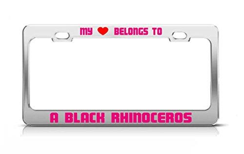 MY HEART BELONGS TO A BLACK RHINOCEROS Animal Safari License Plate Frame ()