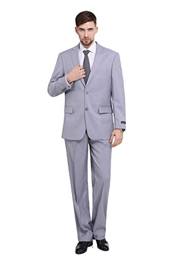 P&L Men's 2-Piece Classic Fit 2 Button Office Dress Suit Jacket Blazer & Pleated Pants Set Silver Grey