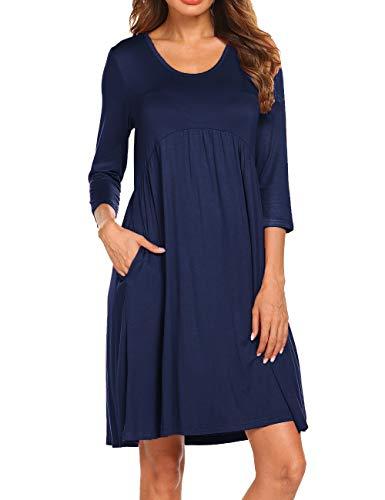 Naggoo Womens 3/4 Sleeve Pockets Knee Length A-line Dresses by Naggoo