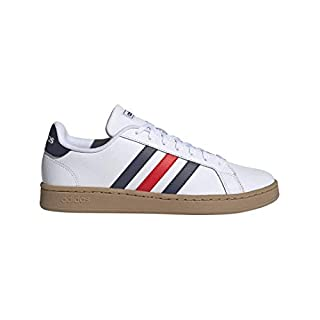adidas Men's Grand Court Sneaker, White/Trace blue/active Red, 7 M US