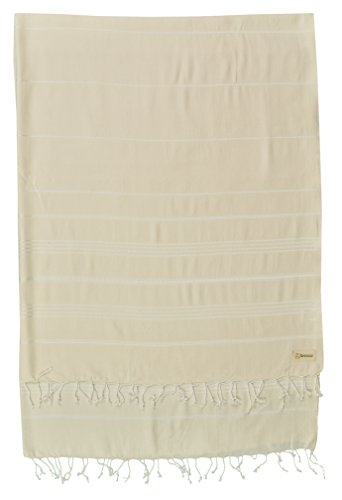 (Bersuse 100% Cotton - Anatolia XL Throw Blanket Turkish Towel Pestemal - Beach Fouta Peshtemal - Multipurpose Bed or Couch Throw, Table Cover or Picnic Mat - 61X82 Inches, Natural (Set of 3))