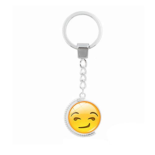 Fan-Ling Creative Funny Face Double-Sided Rotating Time Gemstone Metal Key Holder, Keychain,Key Ring, Key Chains,Cell Phone Chain,Glass Pendant Holder,Bag Pendant Car Accessory,Cute Ornaments (H)