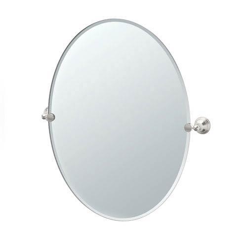 Polished Nickel Finish Mirrors - Gatco 4369LG Charlotte Large Oval Wall Mirror, Satin Nickel