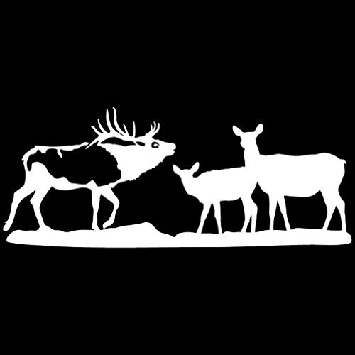 Reverse Gang (Bull Elk and Gang White Reverse Facing Big Game Collection Wall Decals Mural Decor Vinyl Sticker AL1605)