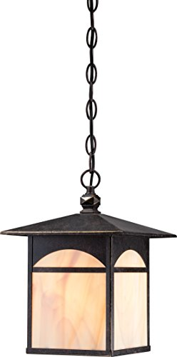 1 Light Honey Pendant - Nuvo Lighting 60/5654 Canyon Hanging One Light Lantern 100-watt Outdoor Pendant Porch and Patio Lighting with Honey Stained Glass, Umber Bronze