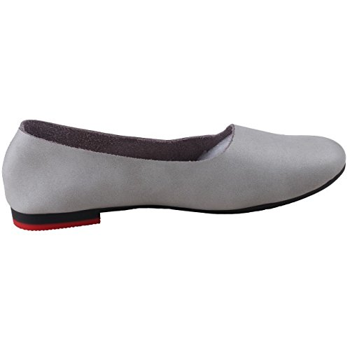 Tansure Damen Leder Loafer flache Schuhe Slip On Grau