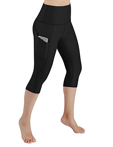 ODODOS Women's High Waist Yoga Capris with Pockets,Tummy Control,Workout Capris Running 4 Way Stretch Yoga Leggings with Pockets,Black,Small