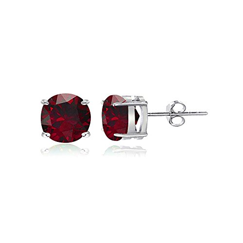 Sterling Silver Created Ruby Round Stud Earrings, All Sizes