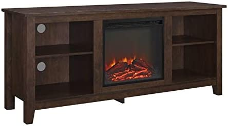 Amazon Com Bowery Hill Electric Fireplace 58 Tv Stand In Brown