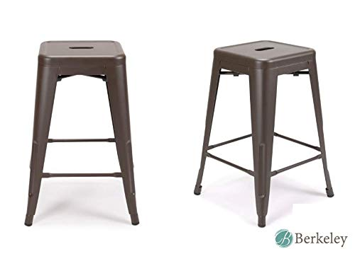 Set of 2 Metal Bar Stool 24 Milani Matte Espresso Stackable, Indoor Outdoor, Counter Stools, Kitchen Bar Stools, Industrial, Galvanized Steel, Counter Stool