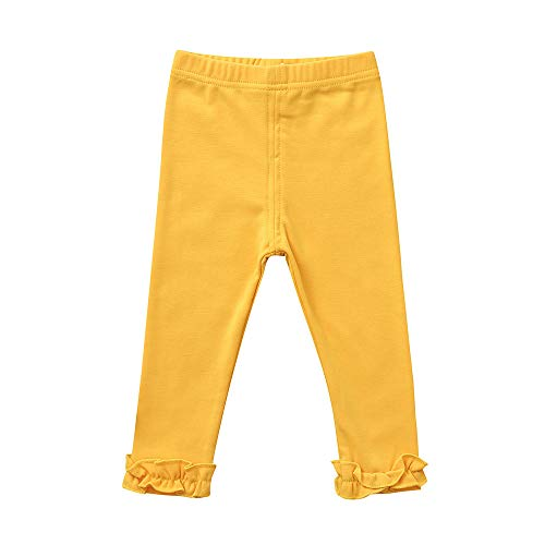 Girls Pants for 1-4 Years Old,Infant Baby Toddler Girls Kids Candy Color Lace Leggings Skinny Trousers Long Pants (2-3 Years Old, Yellow)