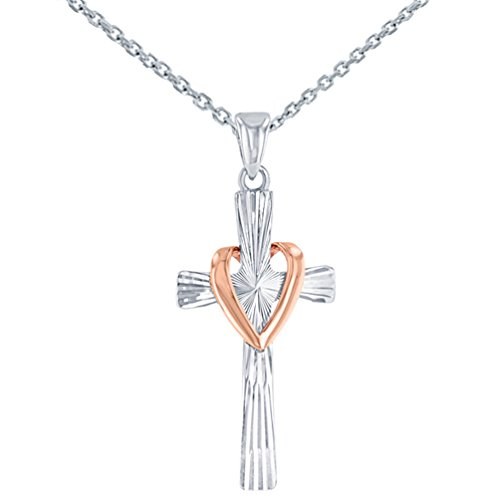 High Polish 14K Two Tone Gold Textured Cross with Heart Charm Pendant Necklace, 22