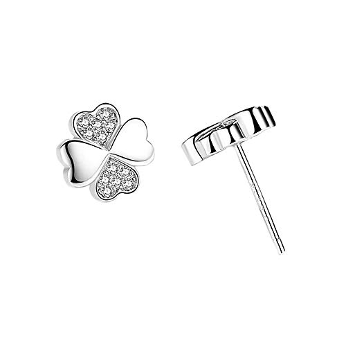 - Hypoallergenic Lucky Four Leaf Clover Silver Heart Shaped Stud Earring for Women & Girls (Silver & Crystal)