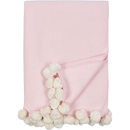 MALIBU LUXXE Pom Adult Sized Throw Pink with Ivory Pom Poms - as seen on The Today Show!